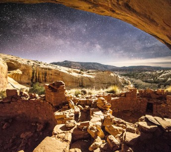 Stars illuminate the landscape of Bears Ears National Monument.