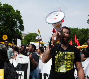 Black Lives Matter activists at the 2017 Peoples Climate March in Washington, D.C. Under the Trump administration, the Environmental Protection Agency has adopted policies that will disproportionately harm communities of color.