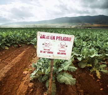 Toxic pest control chemicals sprayed on a field in California's Salinas Valley