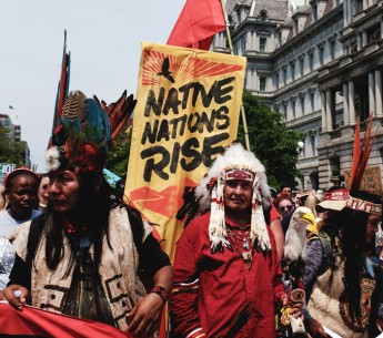 Native American activists join in the Peoples Climate March.