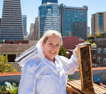 Terry Oxford, with her bees at a rooftop apiary in San Francisco's Jackson Square.
