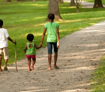 Kids walking in a park