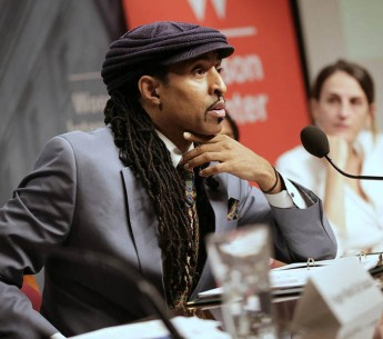 Mustafa Ali speaks on human rights and the environment during a Wilson Center event in Washington last June.
