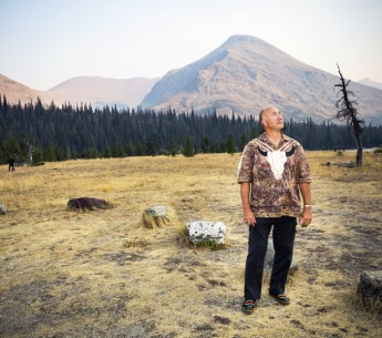 Blackfeet Nation tribal member Jack Gladstone near tribal lands in the Badger-Two Medicine on a smoky summer evening in August 2015.