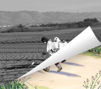 Black and white image of two farm workers in protective clothing spraying insecticide, peeling back to review a colorful illustration of greenery.