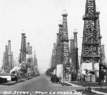 Oil wells near La Habra, 1920s