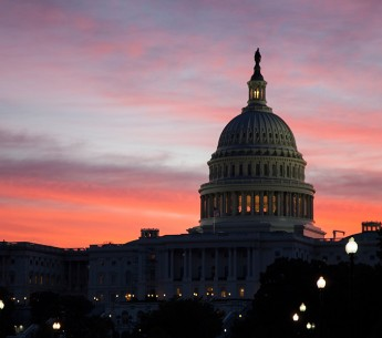 The U.S. Capitol building at dawn.