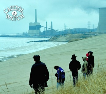 Lake Michigan dunes with power plant in background