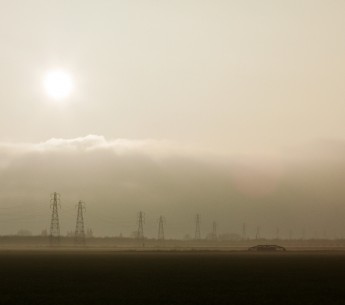 A smoggy day in California's Central Valley in January, 2015.