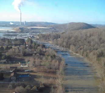 The devastating coal ash spill at Kingston, TN in 2008.