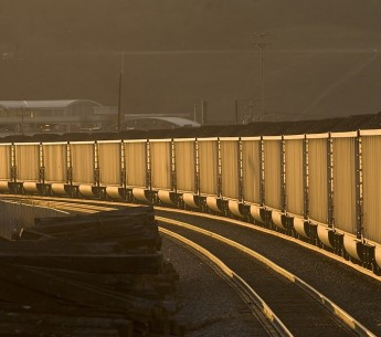 Trains carrying coal.