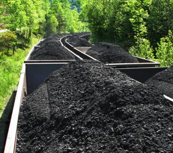 A coal train traveling through Appalachia.