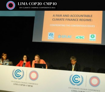Panelists met during the COP20 event to discuss climate change funding.