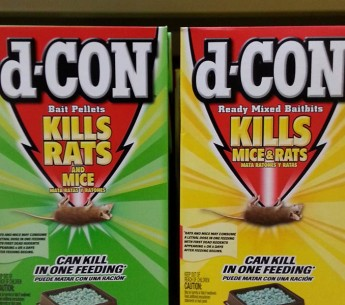 Packages of d-CON on store shelves.