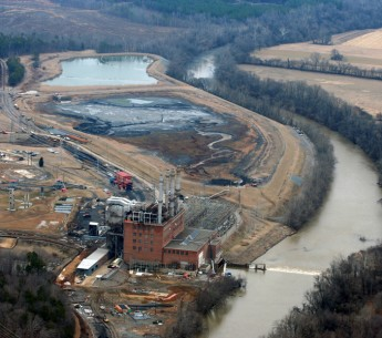 A coal ash spill on the Dan River in North Carolina in 2014.