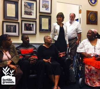 (From left to right) Lana Carter, Raeford Bennett, Elsie Herring, Elizabeth Haddix, Larry Baldwin and Naeema Muhammed explain to staffers at North Carolina Congresswoman Alma Adams' office how severely industrial swine facilities disrupt rural lives.