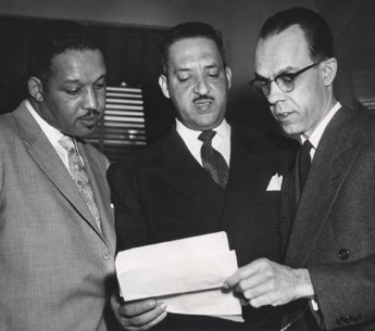 Harold P. Boulware, Thurgood Marshall, and Spottswood W. Robinson III argued against school segregation before the Supreme Court in Brown v. Board of Education.