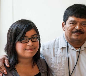 Selena and her father Miguel at the Rayburn House Building in 2013, after meeting with their representative's office.