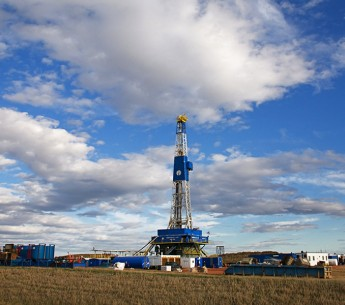 An oil fracking rig outside of Williston, North Dakota.