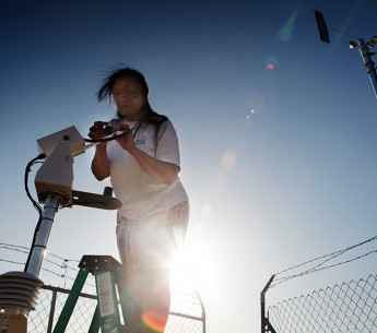 Vickie Simmons works at the test station where the new Moapa Paiute solar plant will be built.