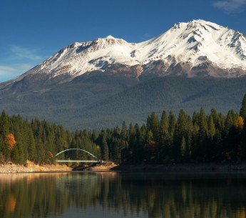 Lake Siskiyou beneath Mount Shasta in Siskiyou county, Calif.