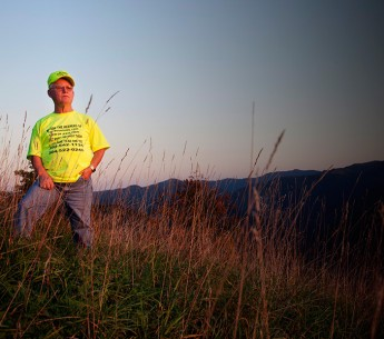 Larry Gibson, watching the sun set over a decimated Kayford Mountain.
