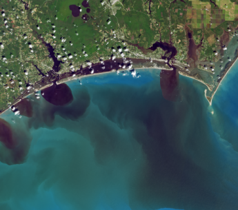 These NASA satellite images show water discolored by excess soils, sediments, decaying leaves, pollution and other debris after Hurricane Florence.