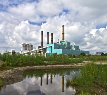 Power plant next to a stream