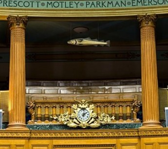 The Sacred Cod hangs in the House Chamber of Massachusetts