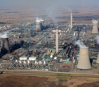 An aerial view of Secunda Power Station, one of the coal-fired plants that pollutes the air and water in South Africa's Mpumalanga province.