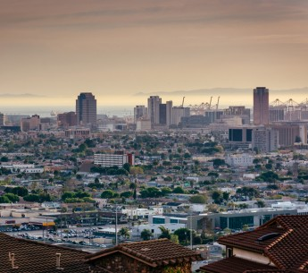 View of the Long Beach skyline from Hilltop Park, in Signal Hill, Long Beach, California.