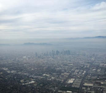 Smog hovers over downtown Los Angeles and surrounding areas on March 3, 2016.