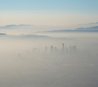 Smog covers the city of Los Angeles, CA.