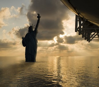 An experimental photo of the Statue of Liberty with higher seas.