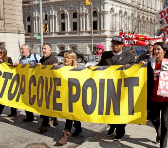The largest environmental protest in Baltimore, MD, called on political leaders to stop Dominion Power's Cove Point liquefied natural gas export terminal on the Chesapeake Bay.