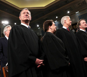 U.S. Supreme Court Chief Justice John Roberts and Associate Justices Elena Kagan, Neil Gorsuch and Brett Kavanaugh in the House chamber for the State of the Union address on February 4, 2020 in Washington, D.C.