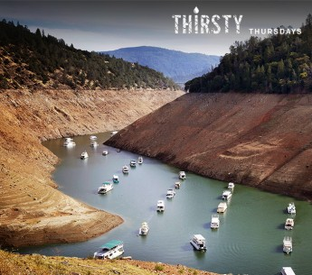 Houseboats sit in the drought lowered waters of Oroville Lake, near Oroville, California on October 30, 2014.