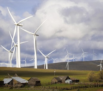 Wind turbines near the Colombia River in Washington state.
