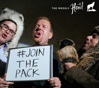 Wolf party attendees howl for the camera as they prepare their #JoinThePack video to honor wolves.