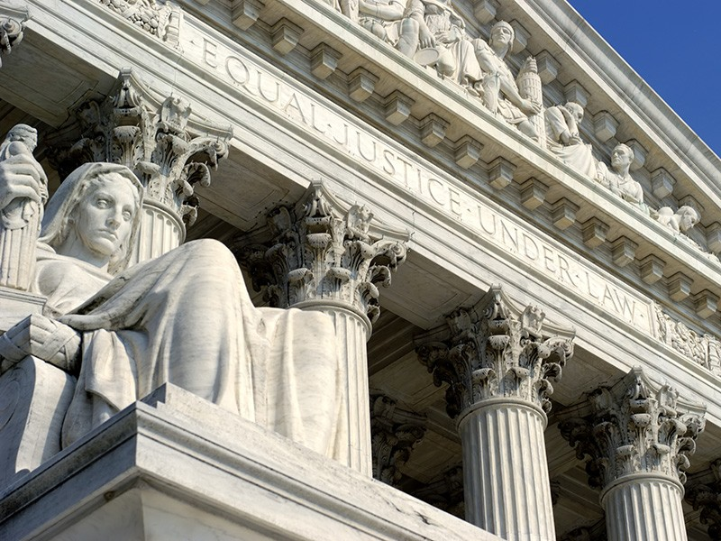The statue 'Contemplation of Justice', outside of the U.S. Supreme Court building.