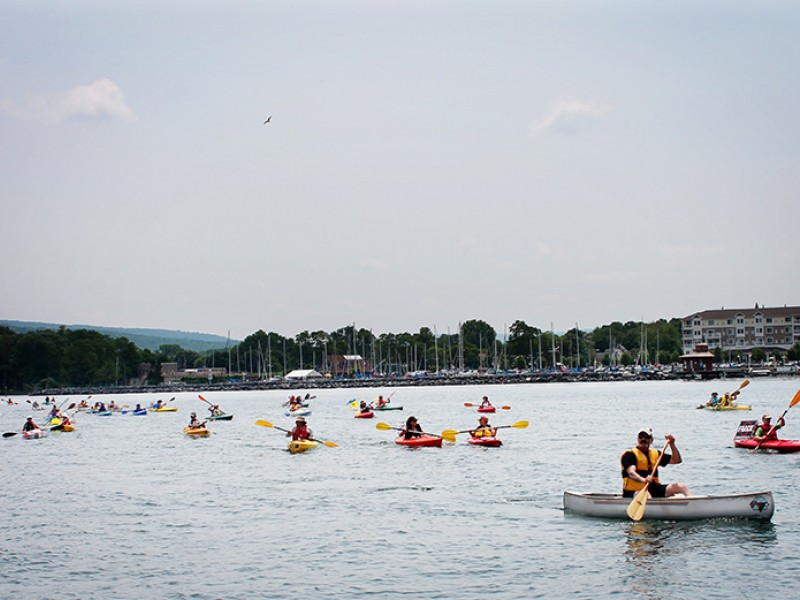 Kayakers, protesting a gas storage facility on Seneca Lake in June 2012.