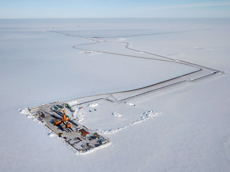 A Conoco-Phillips drill site in the Western Arctic.