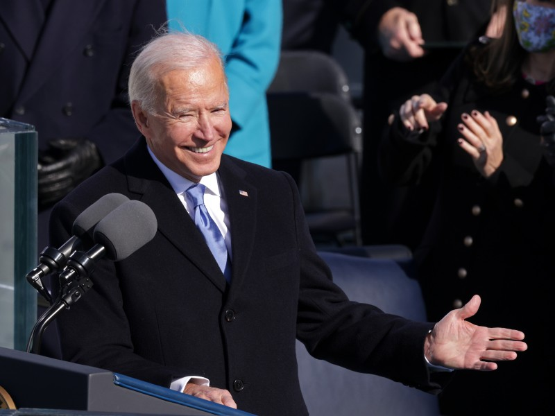 U.S. President Joe Biden delivers his inaugural address on the West Front of the U.S. Capitol on January 20, 2021.
