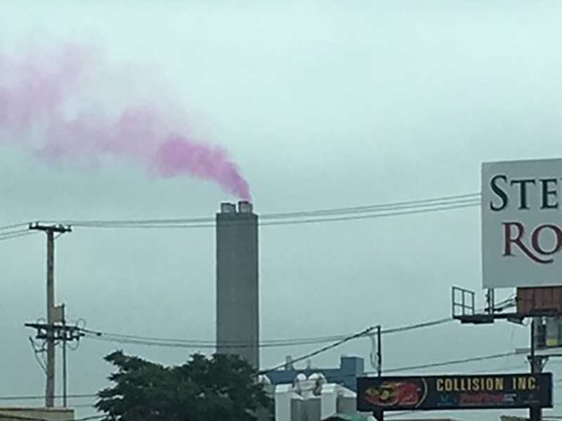 Pink smoke emanating from and incinerator in the Ironbound community in New Jersey.