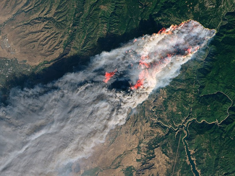 The Camp Fire as seen from the Landsat 8 satellite on Nov. 8, 2018