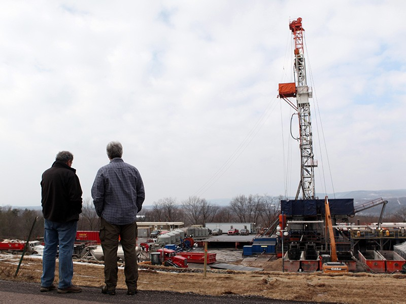 A fracking drill rig in Pennsylvania.