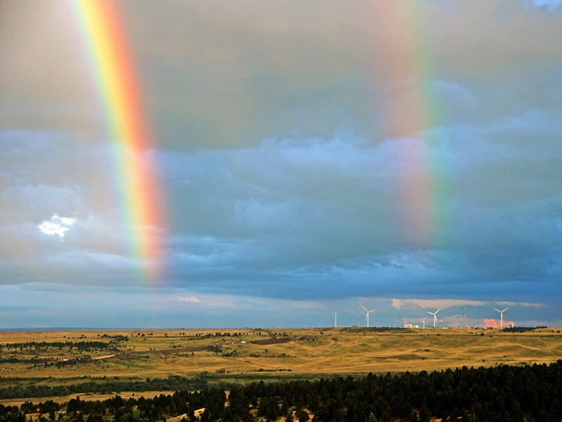 Double rainbows over NREL's National Wind Technology Center in Colorado.