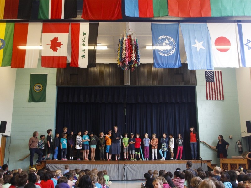 3rd, 4th, and 5th graders at Sacajawea school assembly