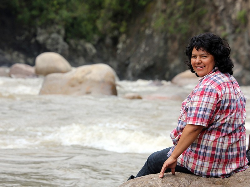Berta Cáceres on the banks of the Gualcarque River in the Rio Blanco region of western Honduras. / Goldman Environmental Prize