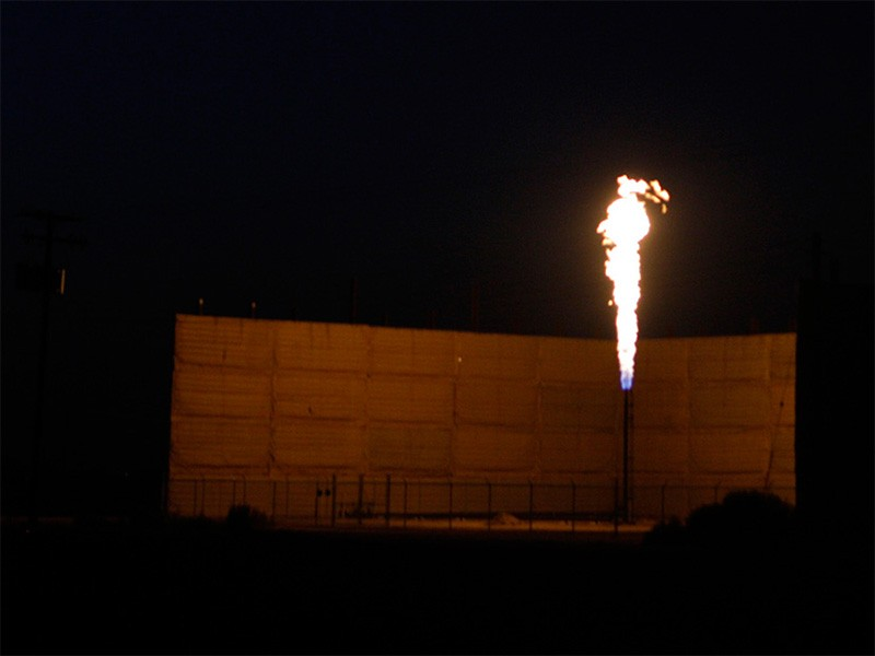 Flaring at a gas well in the Central Valley of California.